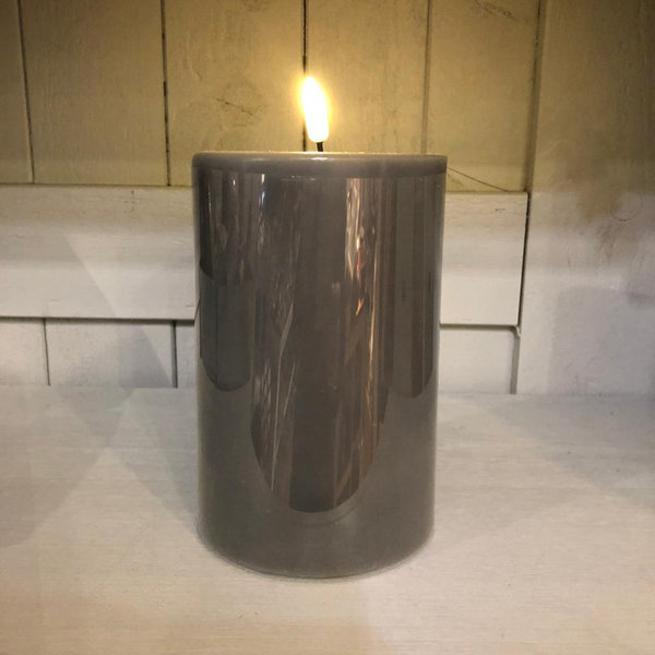 Stumpenkerze grau, Real Flame, LED, Ø 10 cm, H 15 cm von Deluxe Homeart