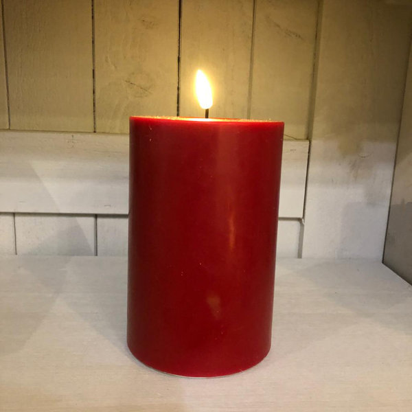 Stumpenkerze rot, Real Flame, LED, Ø 10 cm, H 15 cm von Deluxe Homeart